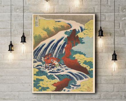 Katsushika Hokusai: Yoshitsune Falls, from the series Famous Waterfalls in Various. Fine Art Canvas.